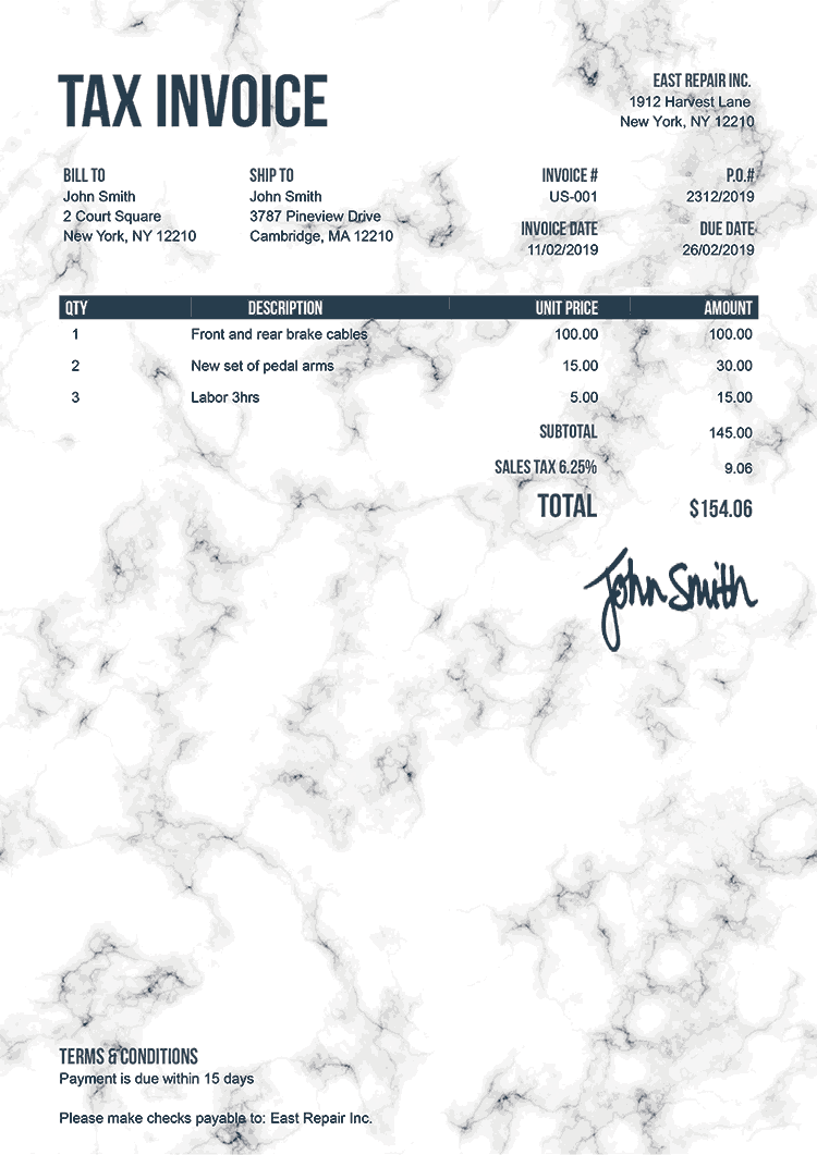 Tax Invoice Template Us Marble White