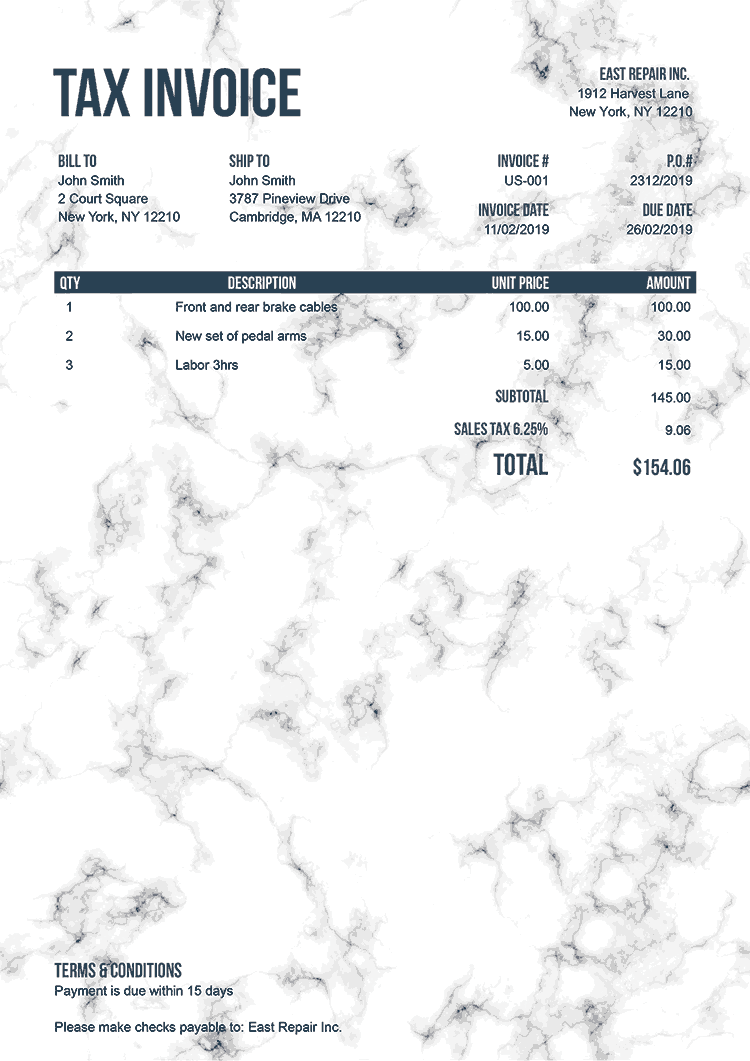 Tax Invoice Template Us Marble White No Logo