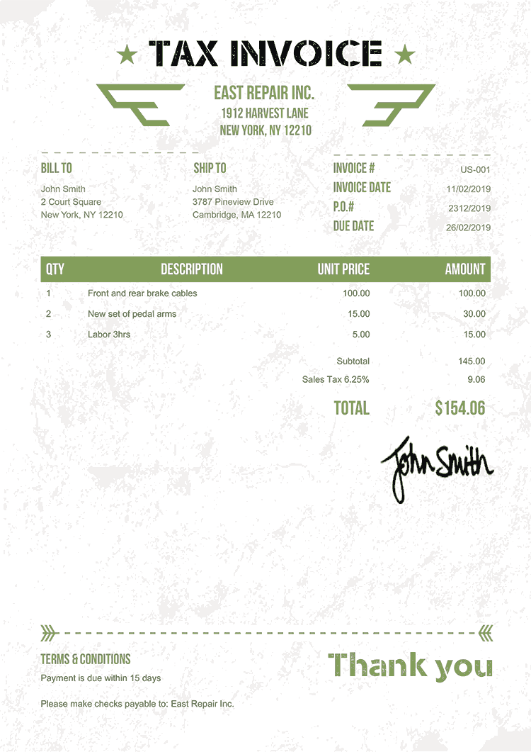 Tax Invoice Template Us Military Green
