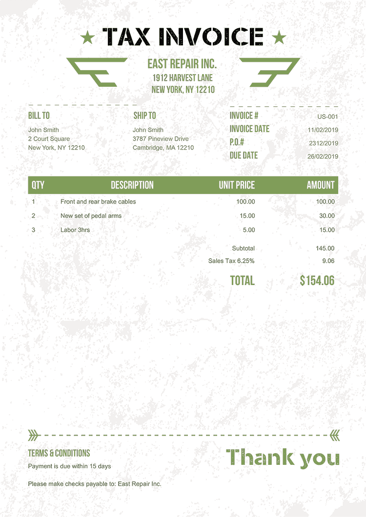 Tax Invoice Template Us Military Green No Logo