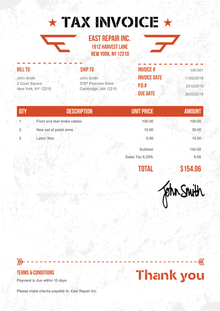 Tax Invoice Template Us Military Orange