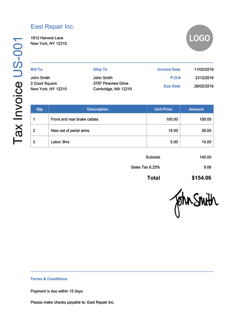 Tax Invoice Template Us Modern Blue