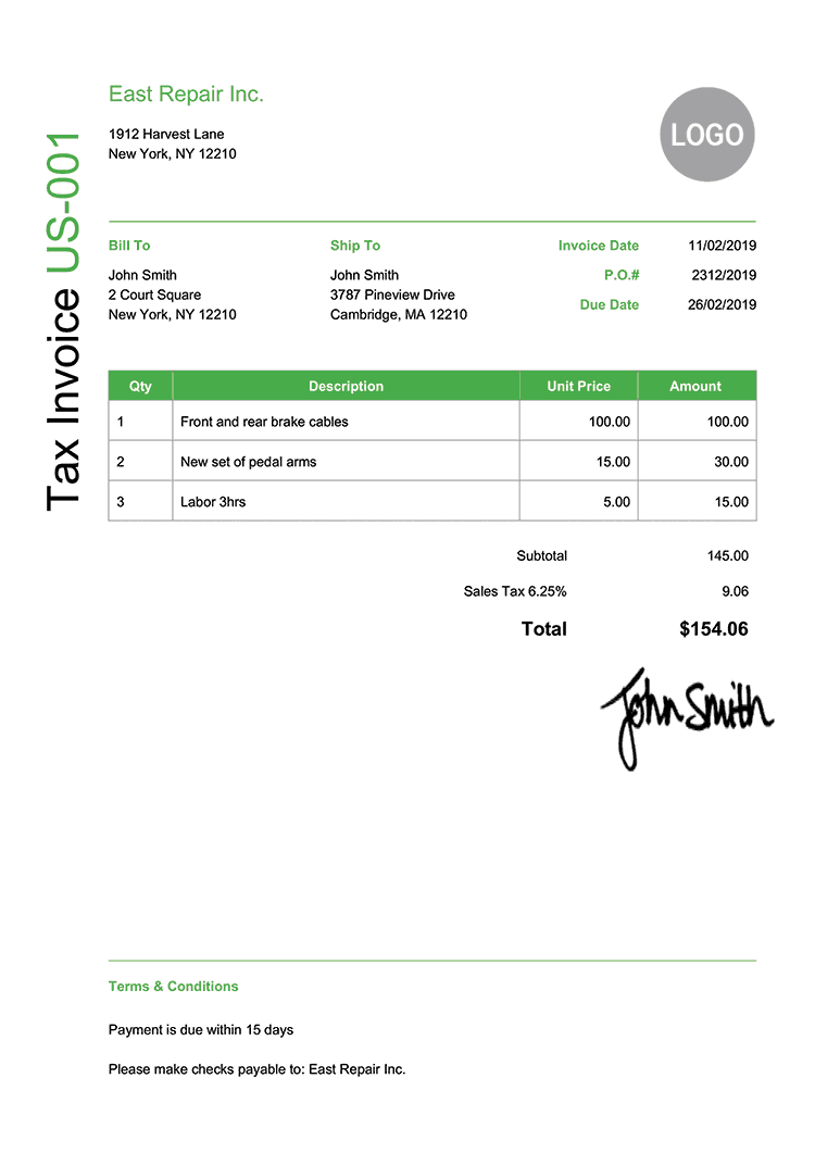 Tax Invoice Template Us Modern Green
