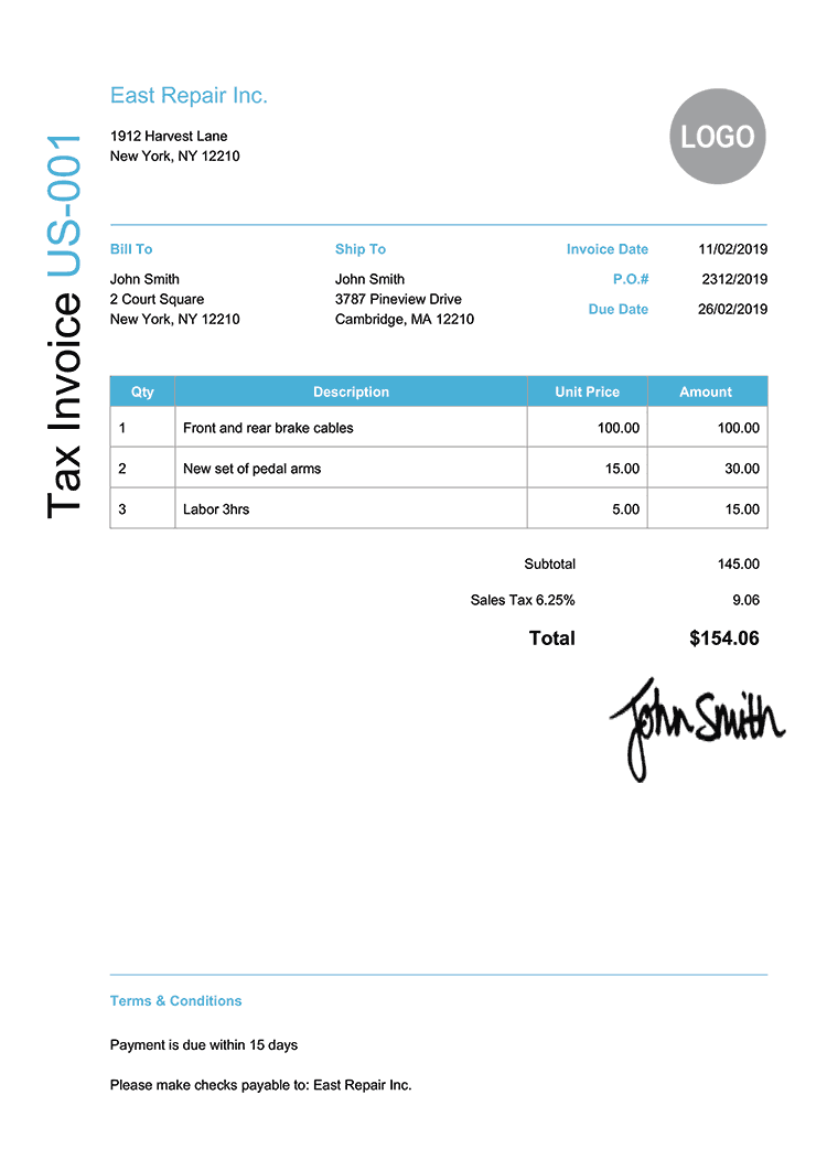 Tax Invoice Template Us Modern Light Blue