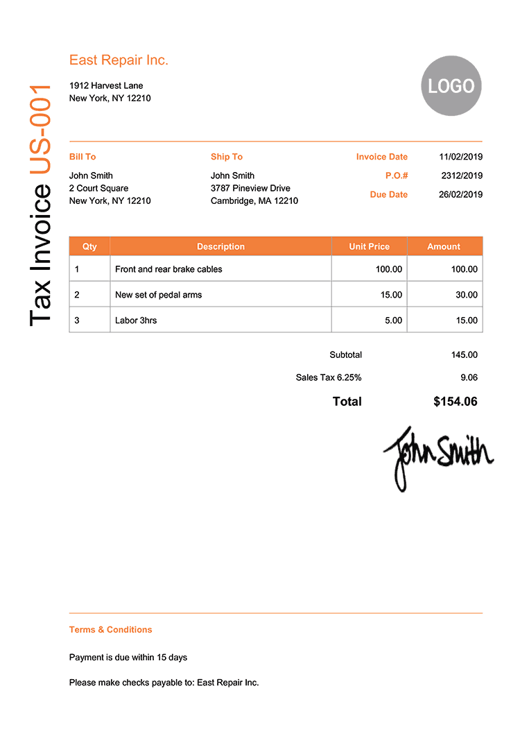 Tax Invoice Template Us Modern Orange