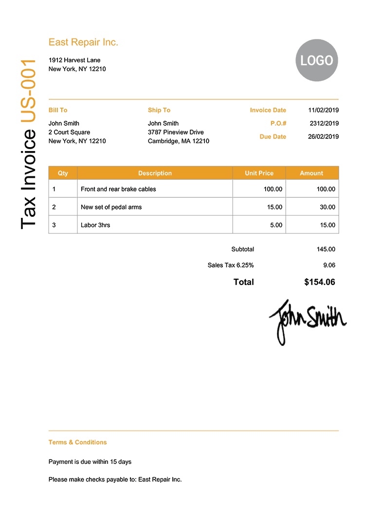 Tax Invoice Template Us Modern Yellow