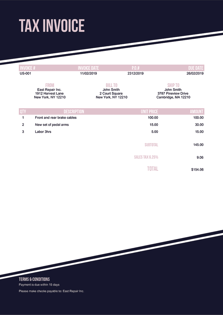 Tax Invoice Template Us Modest Black No Logo