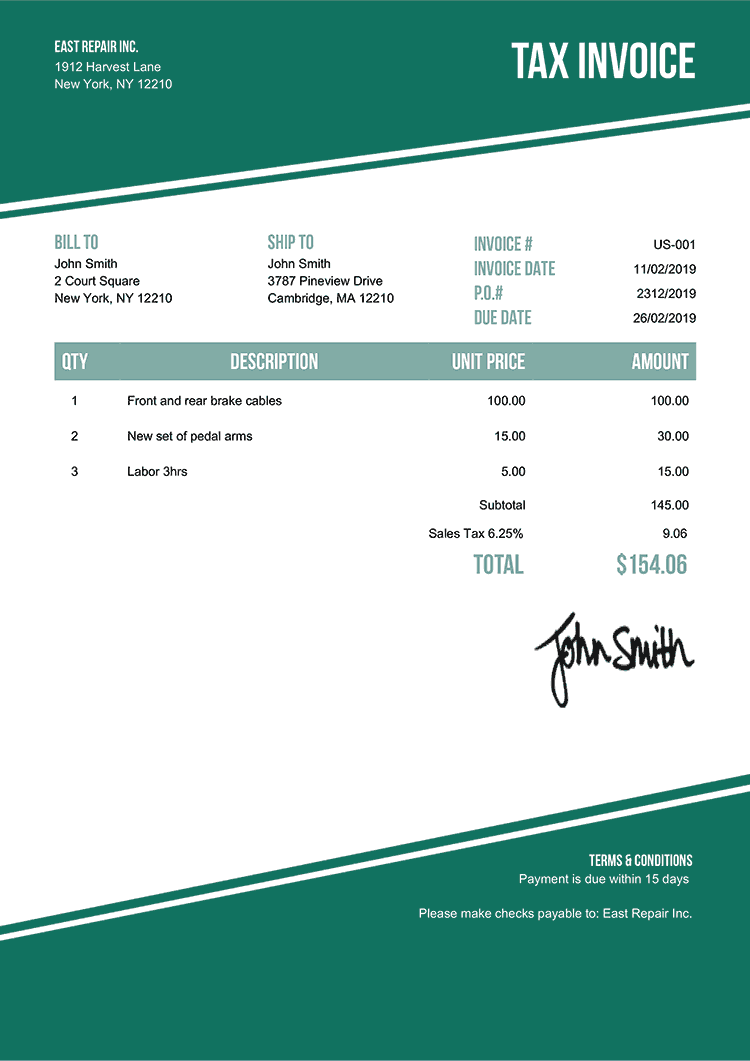 Tax Invoice Template Us Modest Green