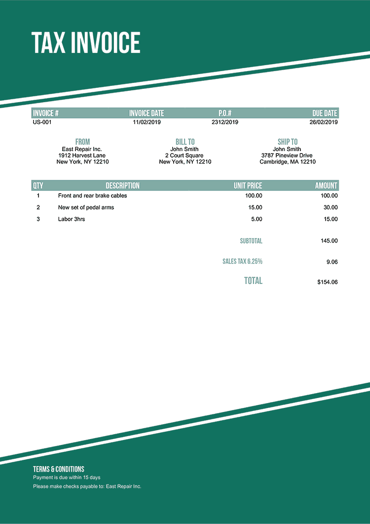 Tax Invoice Template Us Modest Green No Logo