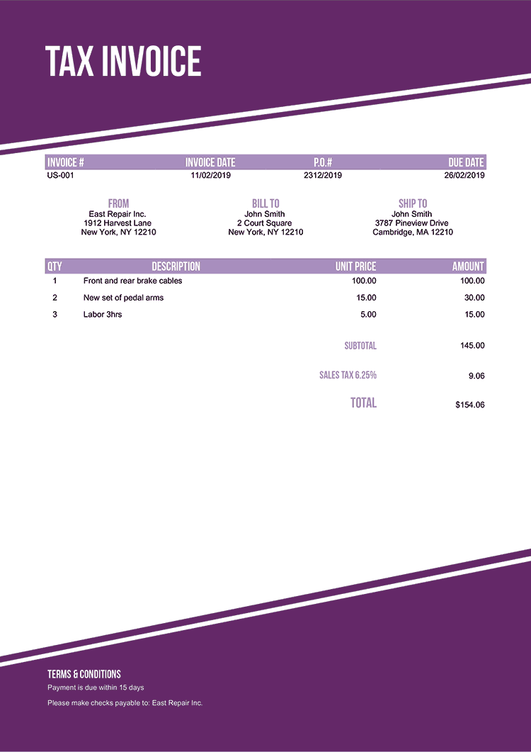 Tax Invoice Template Us Modest Purple No Logo