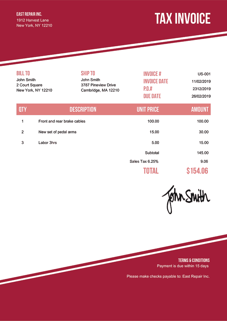 Tax Invoice Template Us Modest Red