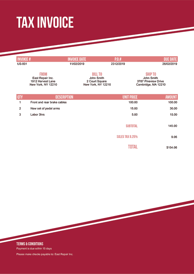 Tax Invoice Template Us Modest Red No Logo