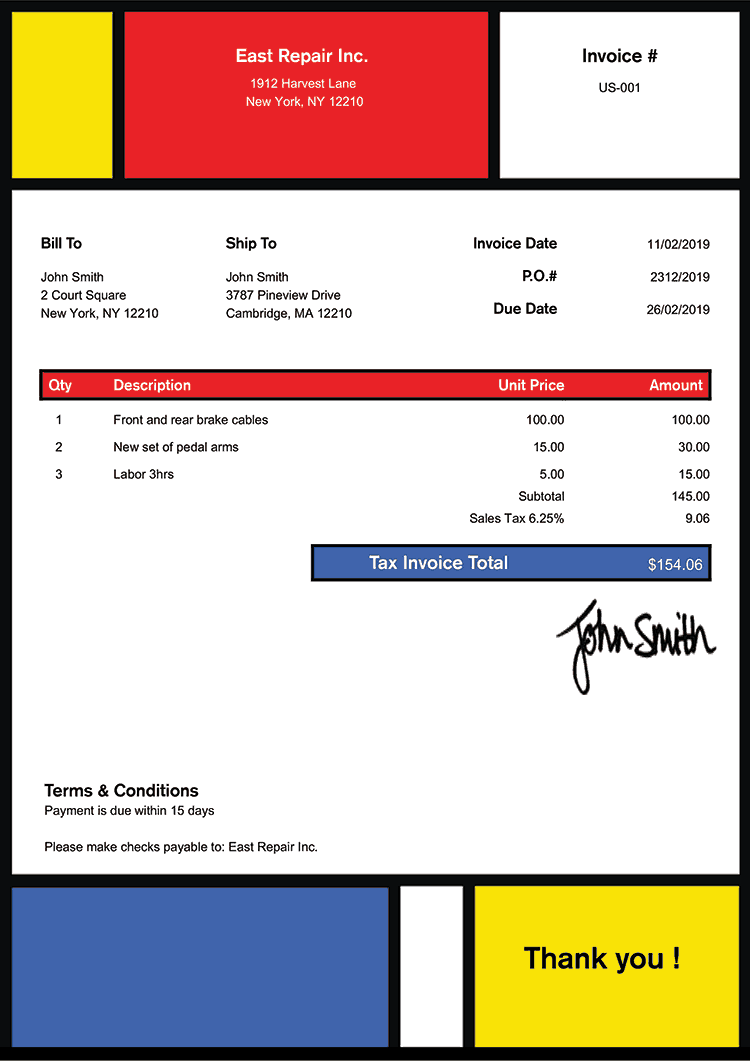 Tax Invoice Template Us Mondrian