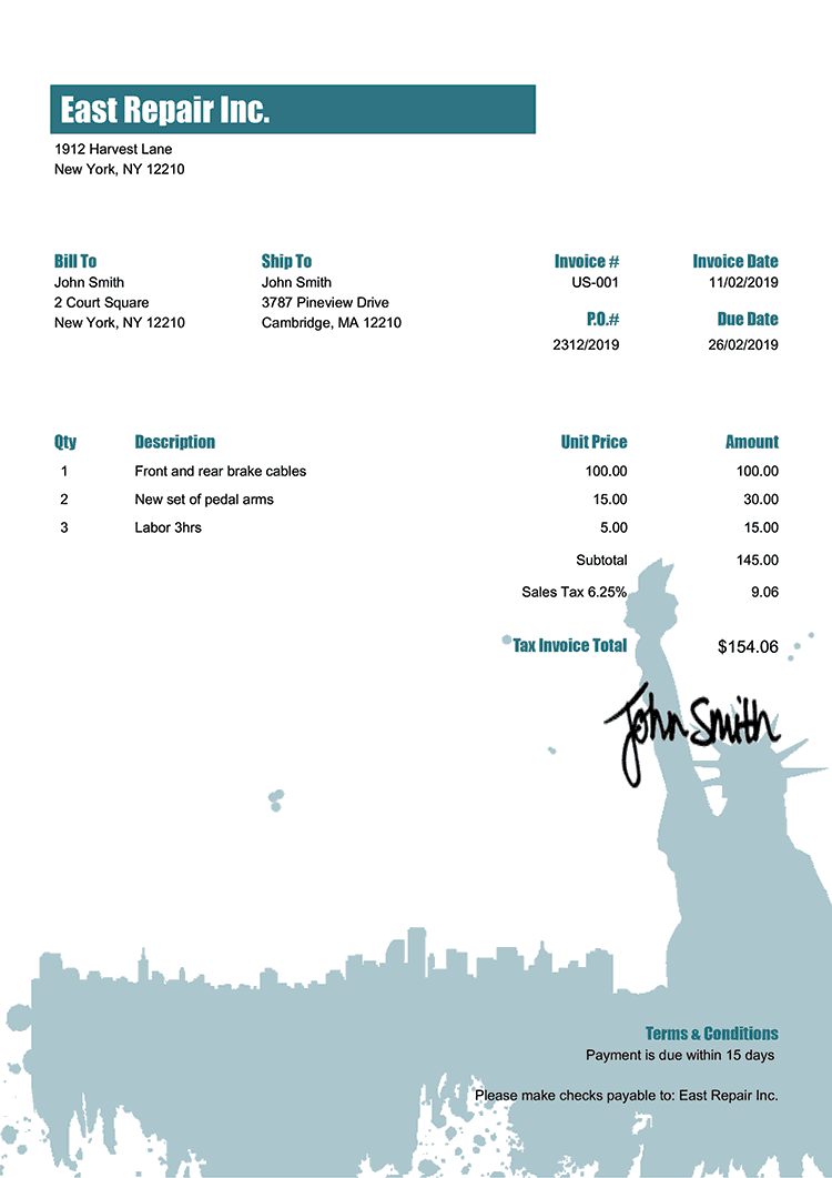 Tax Invoice Template Us New York