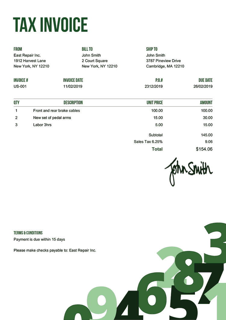Tax Invoice Template Us Numbers Green