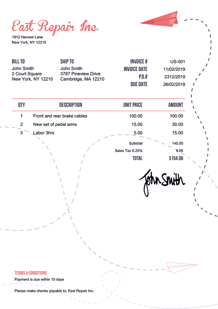 Tax Invoice Template Us Paper Airplanes