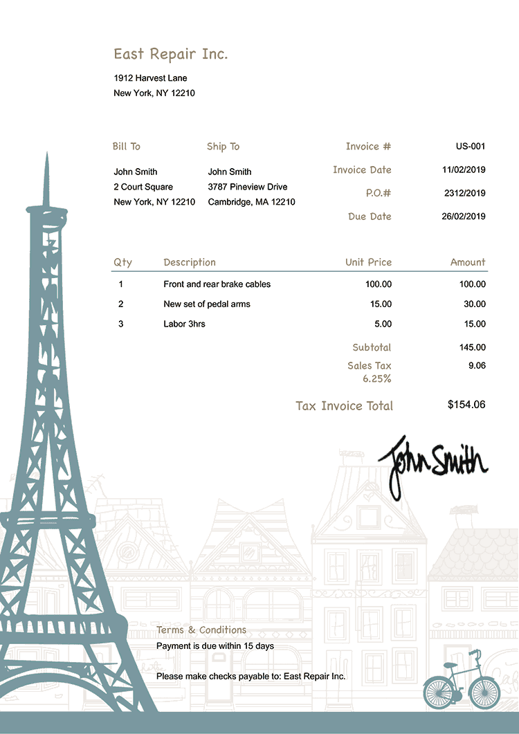 Tax Invoice Template Us Paris