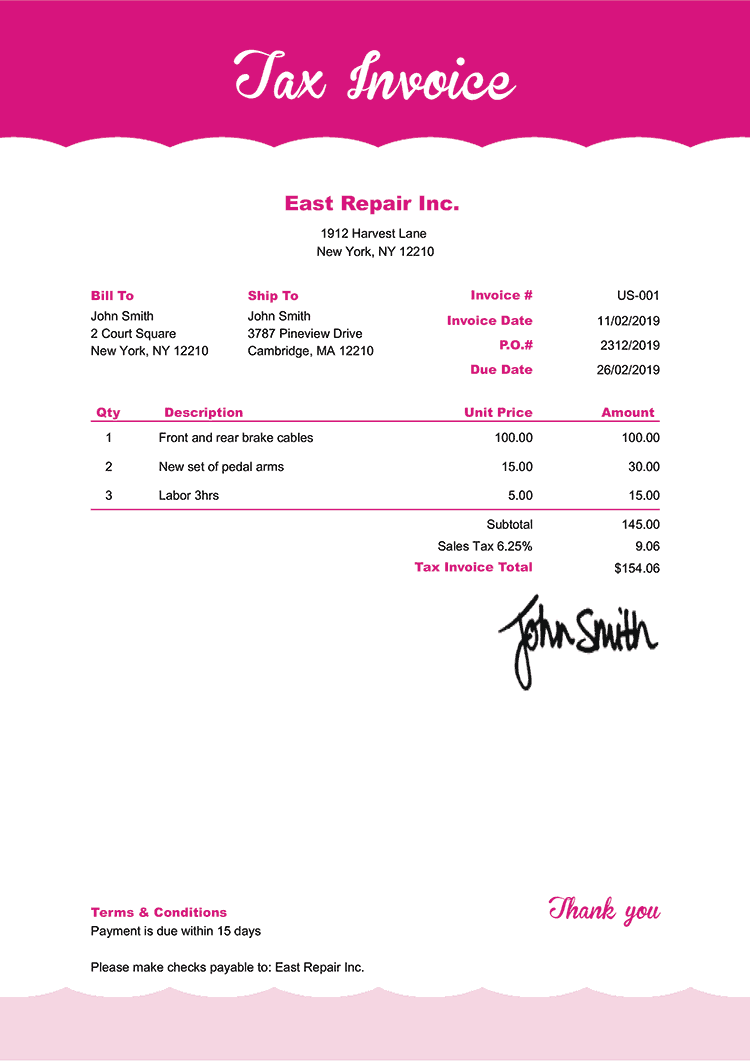 Tax Invoice Template Us Pink Frosting