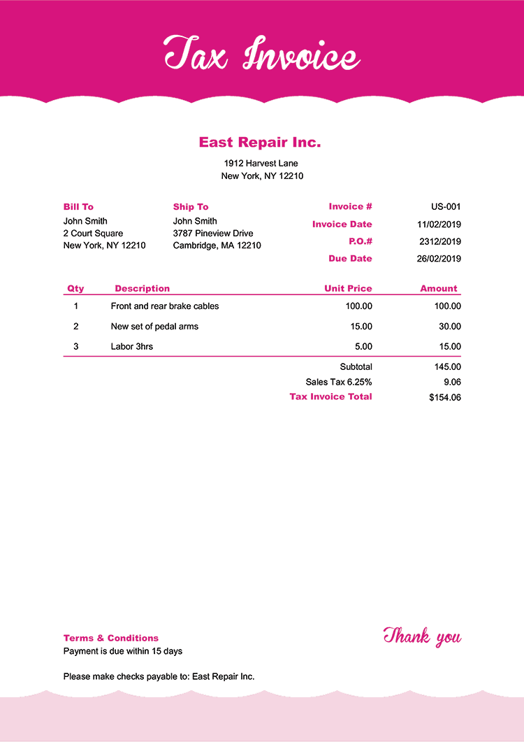 Tax Invoice Template Us Pink Frosting No Logo