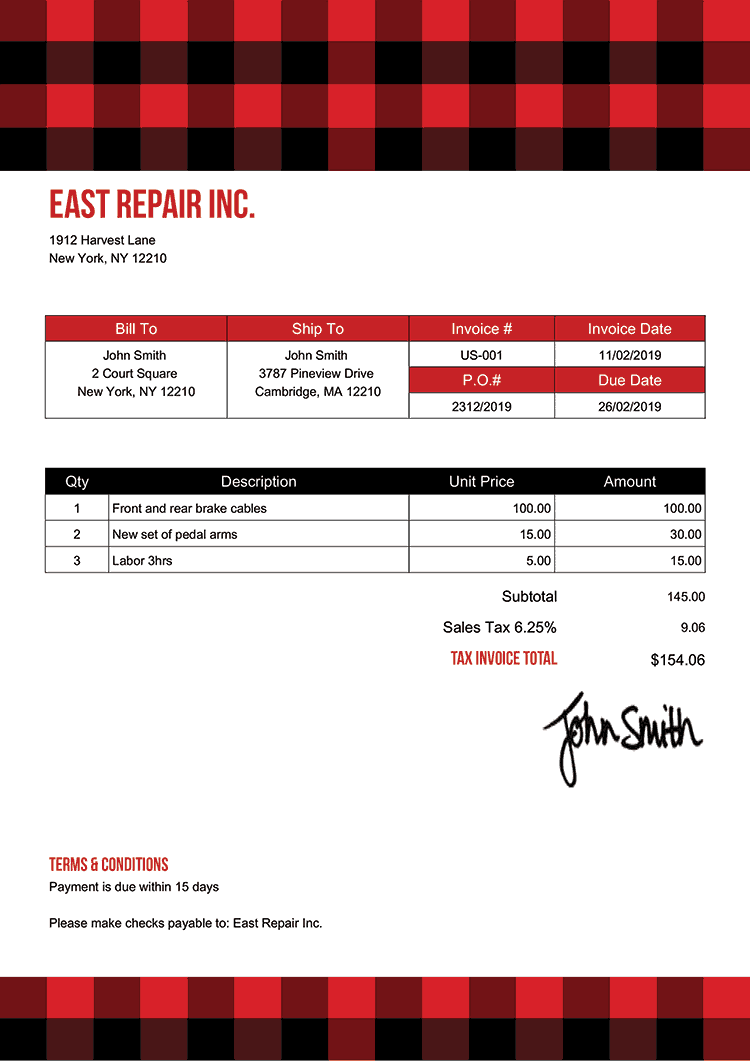 Tax Invoice Template Us Plaid Red