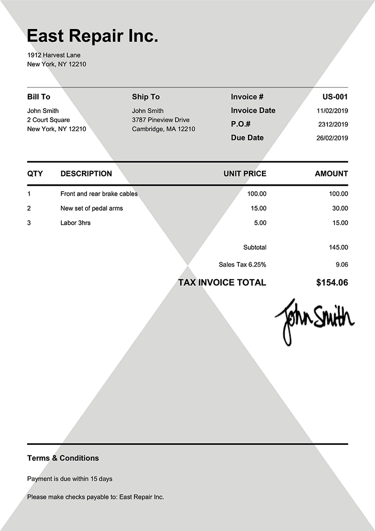 Tax Invoice Template Us Pure Black
