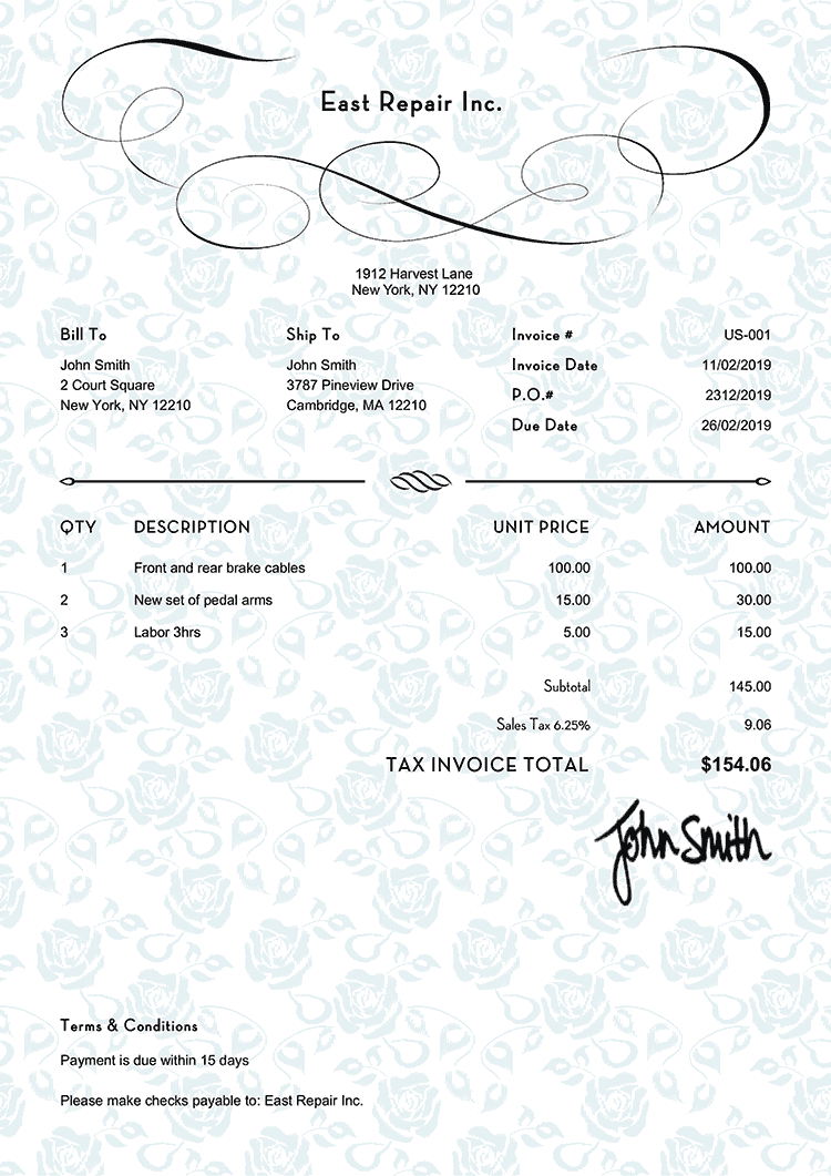 Tax Invoice Template Us Rose Blue