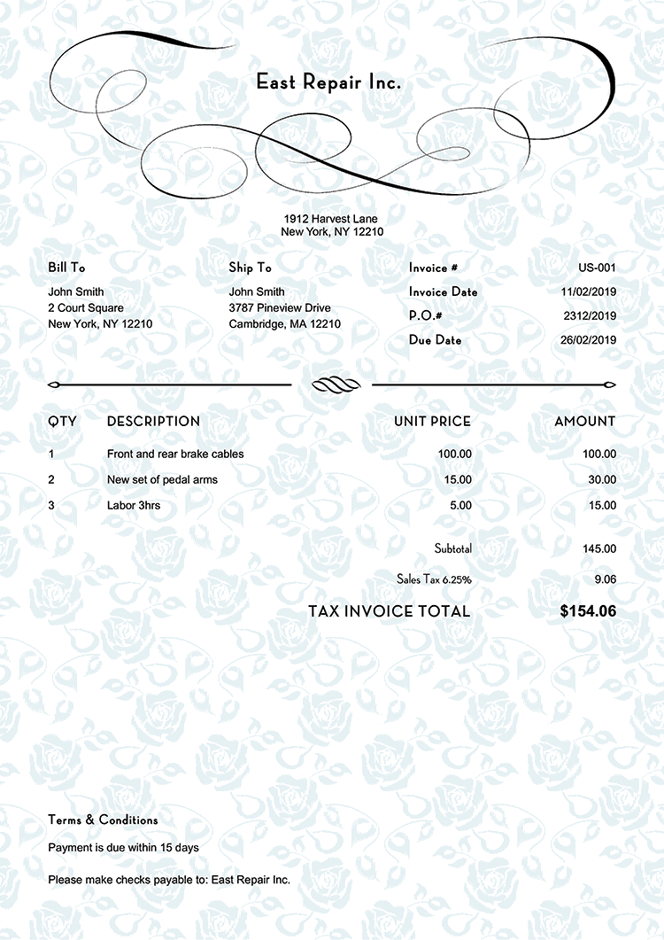 Tax Invoice Template Us Rose Blue No Logo