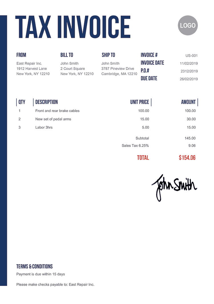 Tax Invoice Template Us Slim
