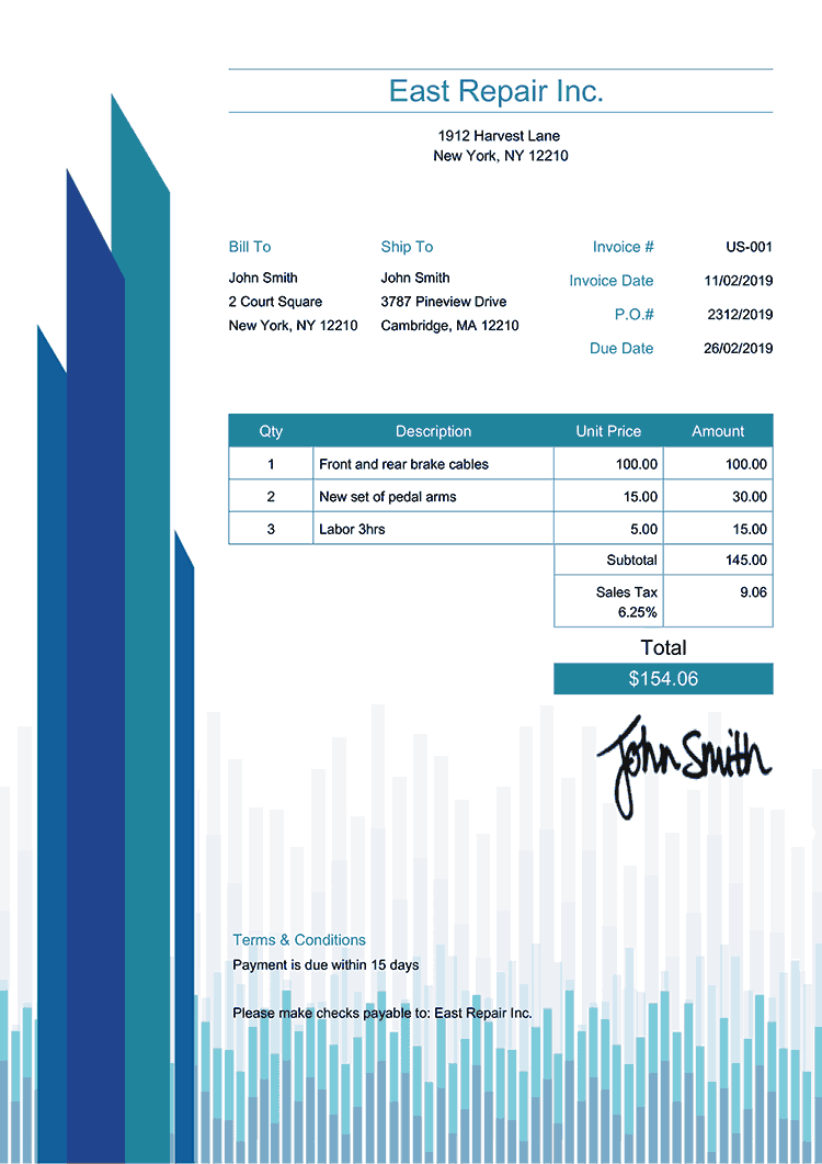 Tax Invoice Template Us Success Blue