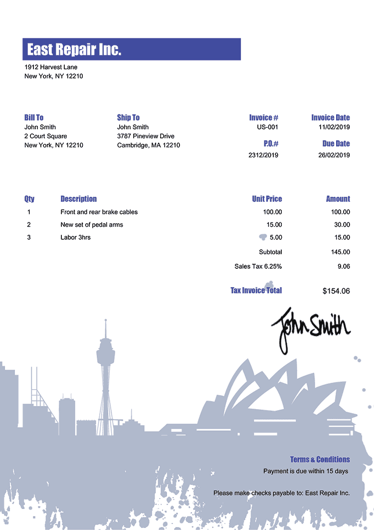 Tax Invoice Template Us Sydney