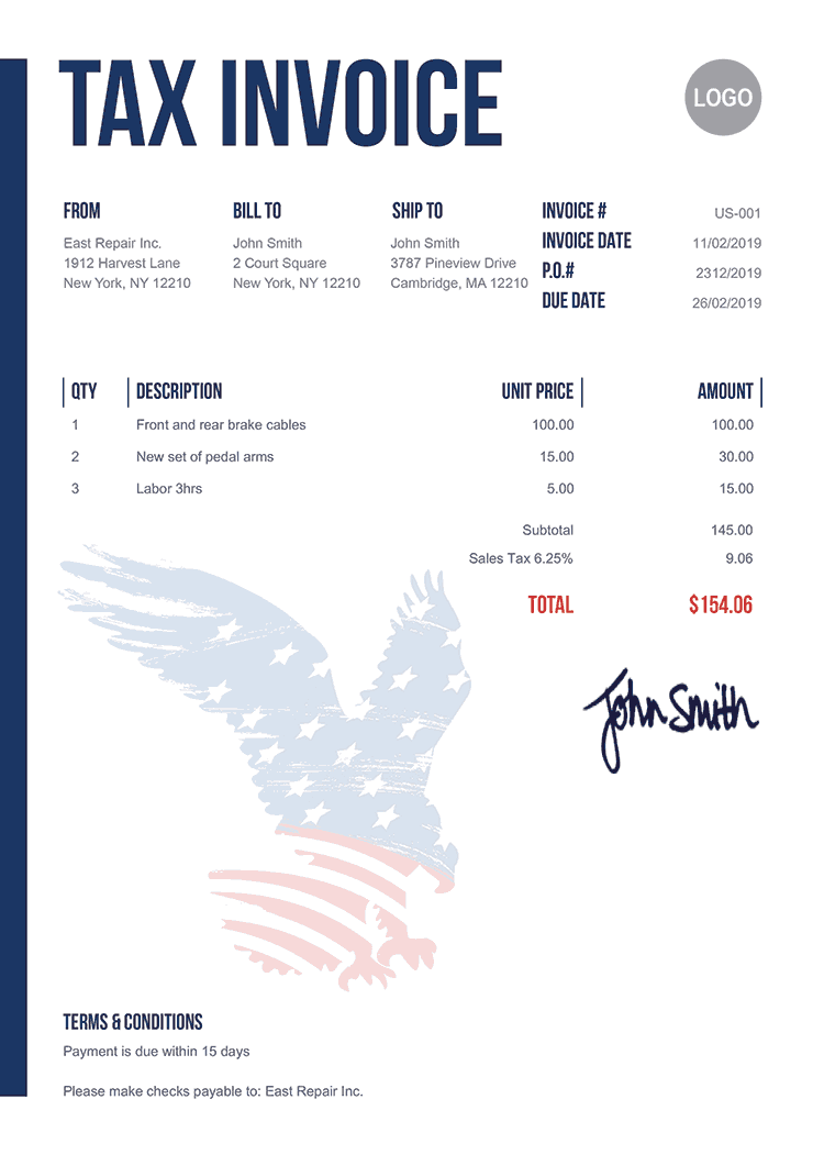 Tax Invoice Template Us Us Eagle