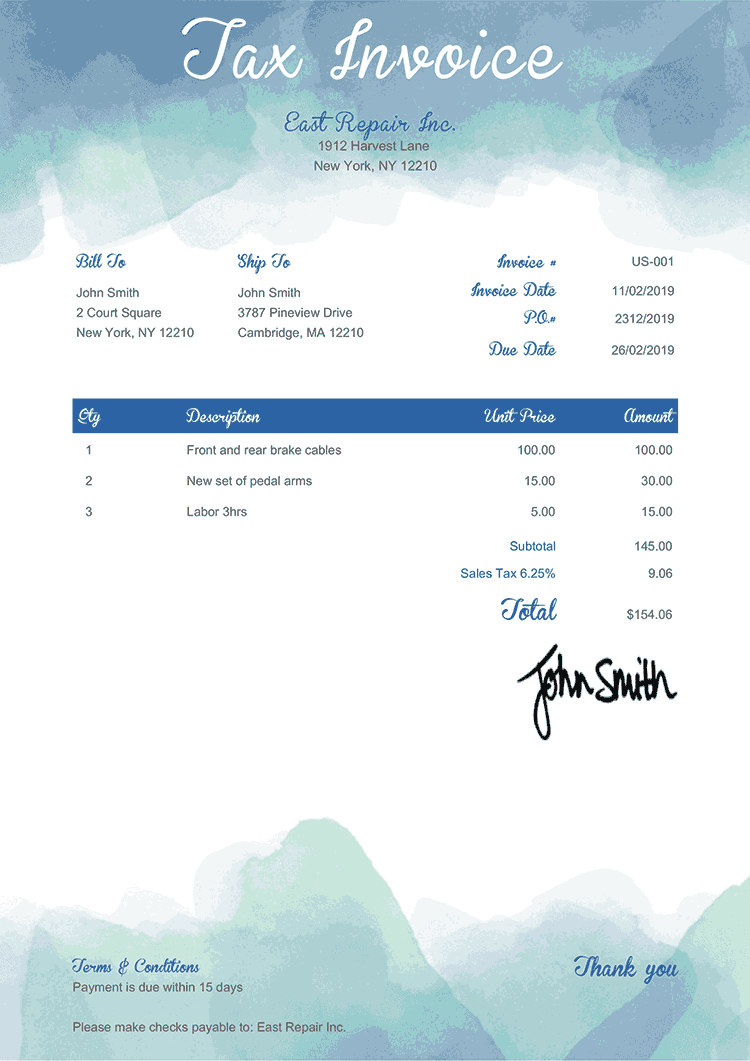 Tax Invoice Template Us Watercolor Blue