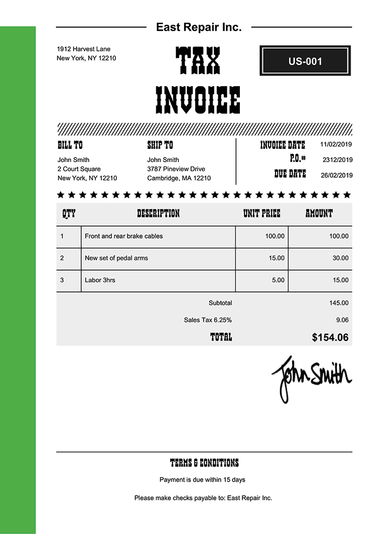 Tax Invoice Template Us Western Green