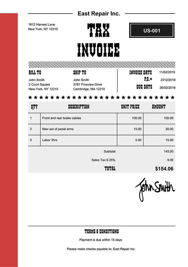 Tax Invoice Template Us Western Red
