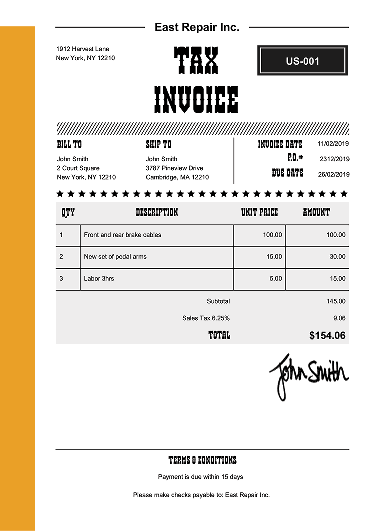 Tax Invoice Template Us Western Yellow