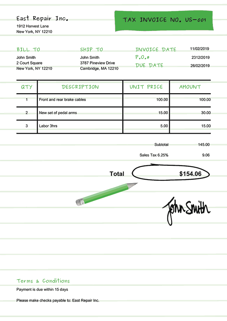 Tax Invoice Template Us Workbook Green