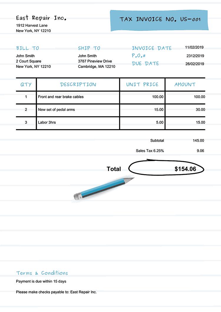 Tax Invoice Template Us Workbook Light Blue No Logo