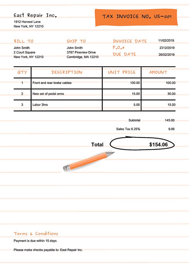 Tax Invoice Template Us Workbook Orange No Logo