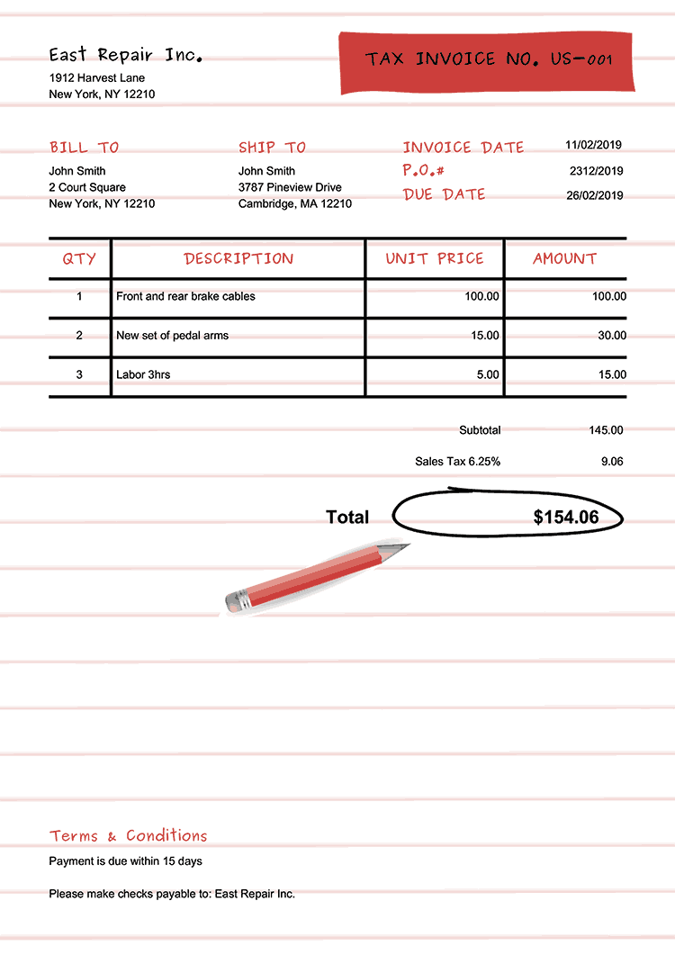 Tax Invoice Template Us Workbook Red No Logo